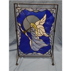 """Leaded glass Angel with Trumpet, 14""""w x 21""""t, hangs on metal stand"""