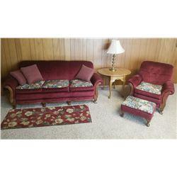 Sofa & chair set, burgundy & floral, very nice