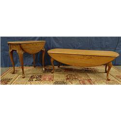"""Oak drop-leaf coffee table, 49.5""""l x 16""""/33"""" w x 17""""t; Oak drop-leaf parlor table, 24""""l x 17""""/32"""" w"""