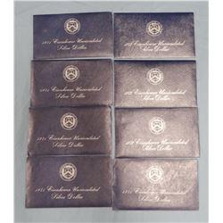 8 Eisenhower un-circ. silver dollars