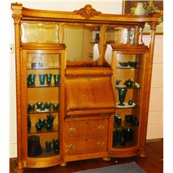 "Fancy oak double secretary china cabinet, ornately carved, twin beveled mirrors, 69"" w x 74"" h, 1 do"