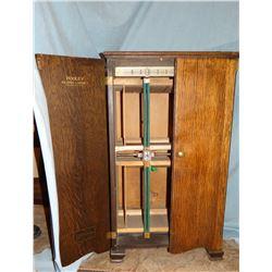 "Pooley music record cabinet, ¼ sawn oak, 36"" h x 21"" w"