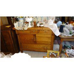 """Fancy oak buffet, stained & leaded glass splash board, 52"""" h x 42"""" w x 20"""" d"""