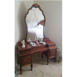 """Maple dresser w/ attached beveled mirror, 36""""w x 20""""d x 72""""h"""