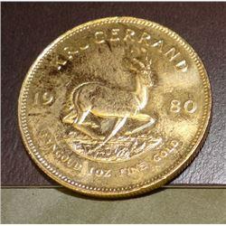 1980 Krugerrand, 1 oz. fine gold