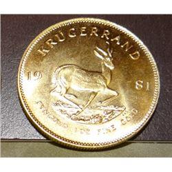1981 Kruggerand , 1 oz. fine gold