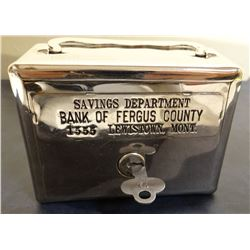 """Bank of Fergus County coin bank with key, 4"""" w x 3"""" h, rare"""