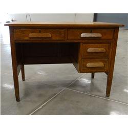 """Oak teacher's desk, 30"""" h x 42"""" w x 26""""d"""