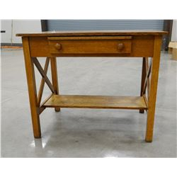 """Oak library table with drawer, 30"""" h x 36"""" w"""