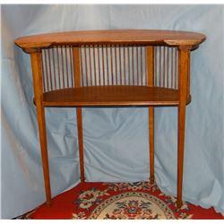 "Ornate oak half moon side table, ¼ sawn, 28"" h x 29"" W, spindle back"