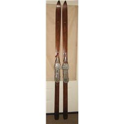 L. L. Bean vintage snow skiis, 7' long, original LL Bean decal
