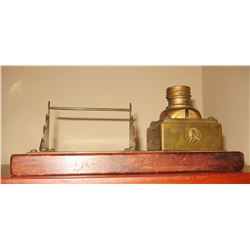 Vintage copper/brass inkwell and base