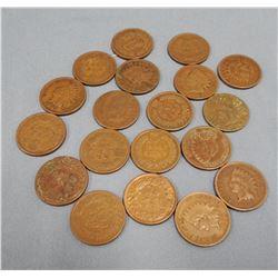 19 Indian head pennies; asstd wheat pennies