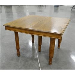 """Oak dining table, 42"""" square, 3 leaves"""