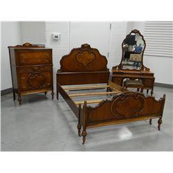 Bedroom set, oak veneer: vanity, full bed, high boy,