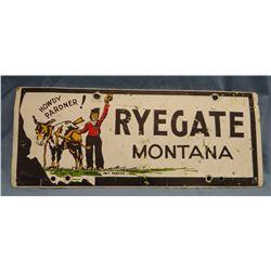"""Ryegate, MT porcelain sign, 5.5"""" x 14"""""""