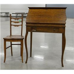 """Oak secretary and chair, drop front, 28""""w x 41""""t, lockable with key"""