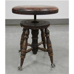 "Oak piano stool, glass ball feet, 20"" tall"