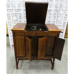 """Brunswick phonograph with records, works, 36""""w x 21""""d x 38""""t"""