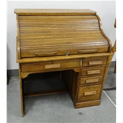 "Oak rolltop desk, S-curve, lockable with key, 42""w x 30""d x 46""t"