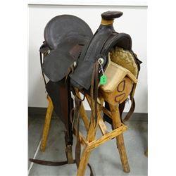 "JE Metcalfe slick fork saddle, 15"", Arkansas City, KS"