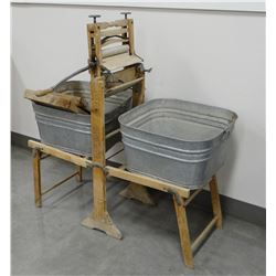 Lovell Mfg. Co. double wash tub with ringer and two washboard