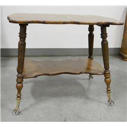 "Oak parlor table, glass ball feet, restored top, 35""w x 25""d x 28.5""t"