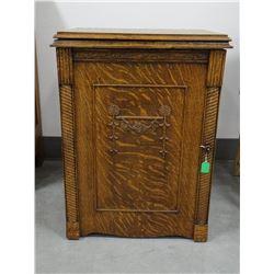 """Oak sewing cabinet, on wheels, 23""""w x 17""""d x 30""""t"""