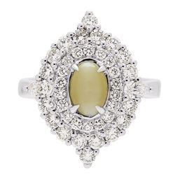 1.26 ctw Cat's Eye Ring - 18KT White Gold