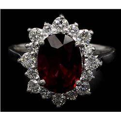 4.20 ctw Rhodolite Garnet and Diamond Ring - 14KT White Gold