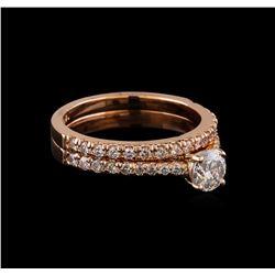 1.10 ctw Diamond Wedding Ring Set - 14KT Rose Gold