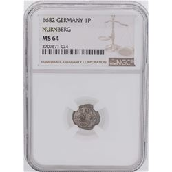 1682 Germany 1 Pfennig Nurnberg Coin NGC MS64
