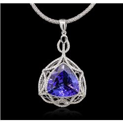 14KT White Gold 11.31 ctw GIA Certified Tanzanite and Diamond Pendant With Chain