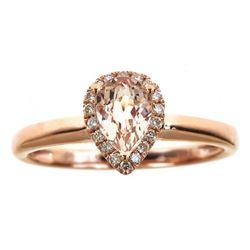 0.55 ctw Morganite and Diamond Ring - 14KT Rose Gold