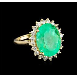 11.85 ctw Emerald and Diamond Ring - 14KT Yellow Gold