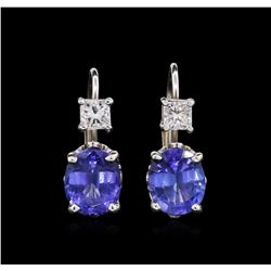 4.14 ctw Tanzanite and Diamond Earrings - 14KT White Gold