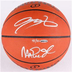 66a3cade714d Magic Johnson LeBron James Signed LE Official NBA Game Ball (UDA COA)