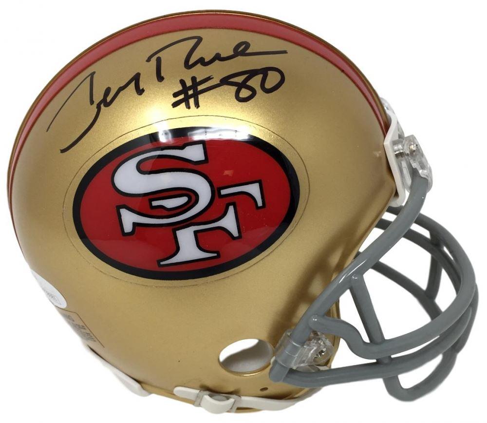 796722529 Image 1   Jerry Rice Signed 49ers Mini-Helmet (JSA COA)