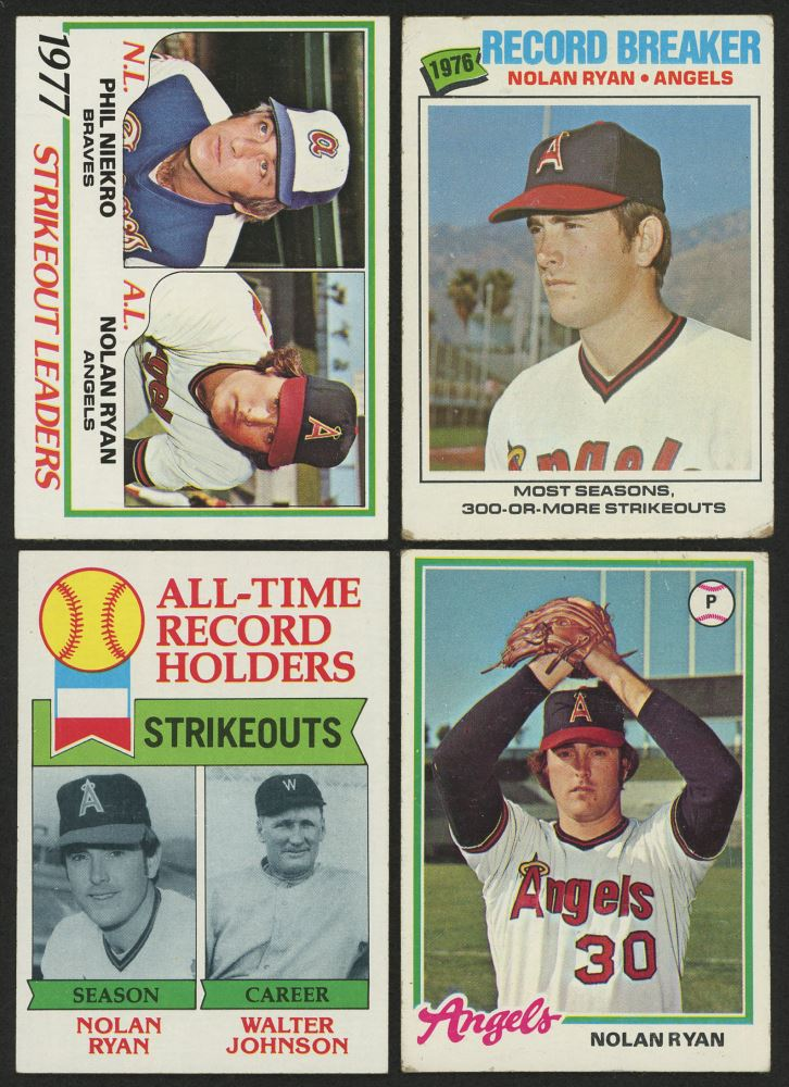 Lot Of 4 Nolan Ryan Baseball Cards With 1977 Topps 234 Rb 1978