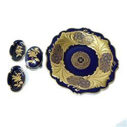 Group of Four German Kobalt Porcelain Pieces, Weimar & Von Henneberg