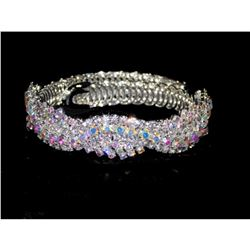 Flexible Silver W.ab Iridescent Rhinestone Crystal Bracelet Cuff