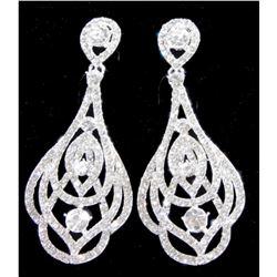 Silver Clear Rhinestone Drop Dangle Earrings