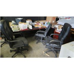 Qty 3 Black Office Chairs & Desk