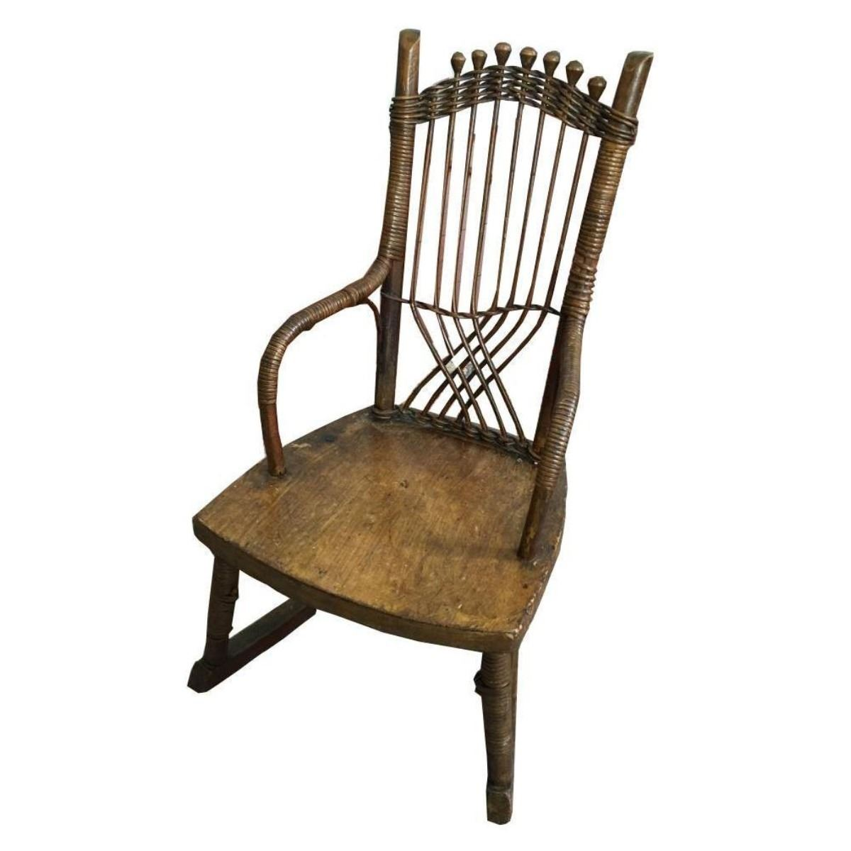 Fantastic 19Thc Primitive Childs Cane Rocking Chair Gmtry Best Dining Table And Chair Ideas Images Gmtryco