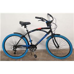 "Kent 26"" Bayside 6-Speed Cruiser Bike, Black Frame w/ Blue Tires, Shimano"
