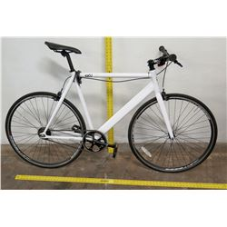 6KU Urban Track Road Bike, White Frame, Fixed Gear