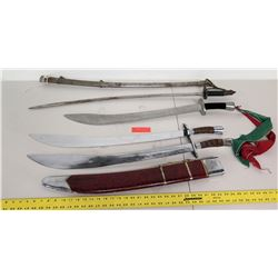 Qty: 4 Swords, Knives (1 w/ Engraved Dragon, 2 w/ Sheaths)