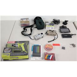 New Ryobi Screwgun Set, 3 Cameras, Power Chargers, Misc. Electronics, etc.