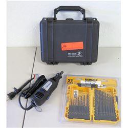 Pelican 1150 Hard Gun Case, Dremel Tool, DeWalt 21-Piece Drill Bit Set