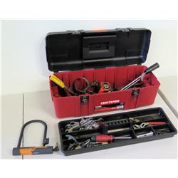 Craftsman Tool Box, Bike Lock & Misc Hand Tools